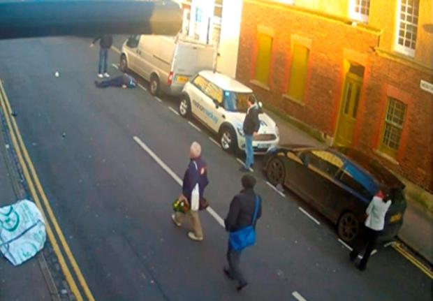 The victim was seen being flung violently into the air after being hit by a Fiat 500 as he crossed Montague Place in the Kemptown area of Brighton. Photo: Sussex Police/PA Wire