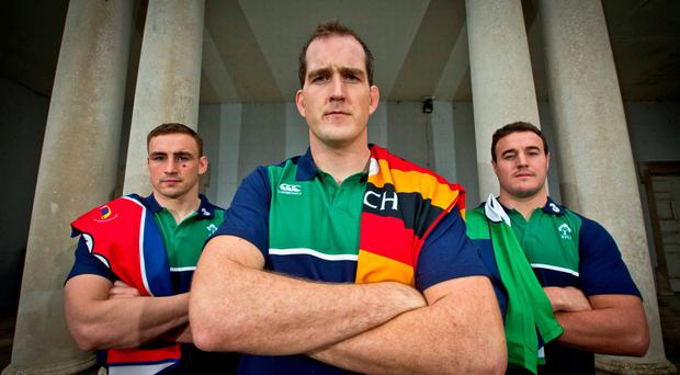 Irish international players Devin Toner, Tommy Ó'Donnell and Rob Herring were on hand in Carton House today as Ulster Bank announced the extension of their partnership with the IRFU. Credit ©INPHO/Morgan Treacy