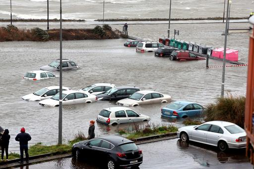 Toft car park in in Salthill as Storm Jonas hits the West coast. Photo: Andrew Downes