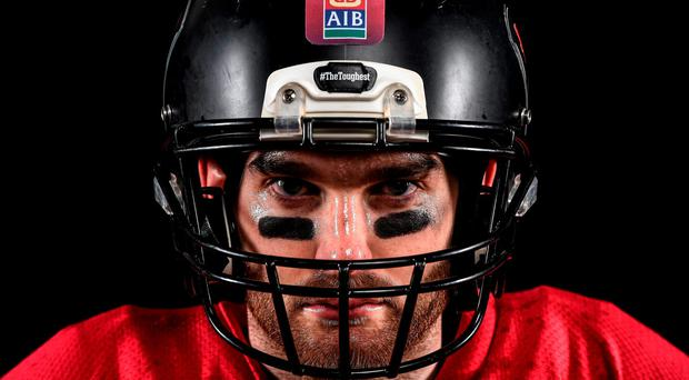 Aidan O'Shea is pictured ahead of AIB's 'The Toughest Trade' as the Mayo man temporarily hangs up his Breaffy jersey to swap Gaelic football for American football. Picture credit: Ramsey Cardy / SPORTSFILE