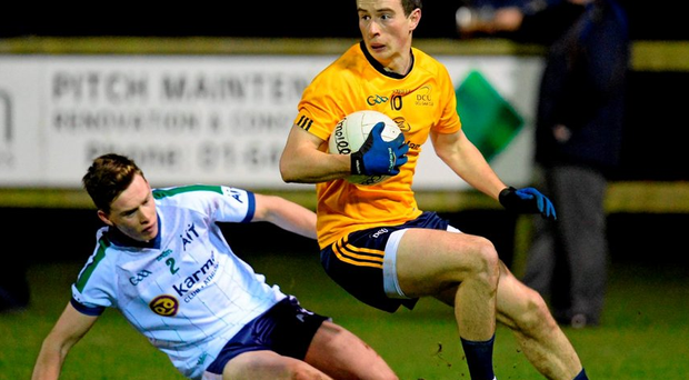Mark Plunkett of Dublin City University, in action against Daniel Monagle, Athlone Institute of Technology. Independent.ie HE GAA Sigerson Cup, 1st Round, Dublin City University v Athlone Institute of Technology Picture credit: Seb Daly / SPORTSFILE