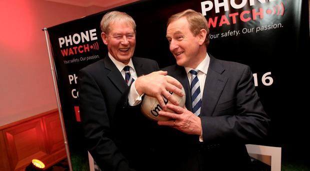 An Taoiseach Enda Kenny and Mícheál Ó Muircheartiagh at the launch of the 27th PhoneWatch Comortas Peile Páidí Ó Sé 2016 Pic: Maxwell Photography/Julien Behal