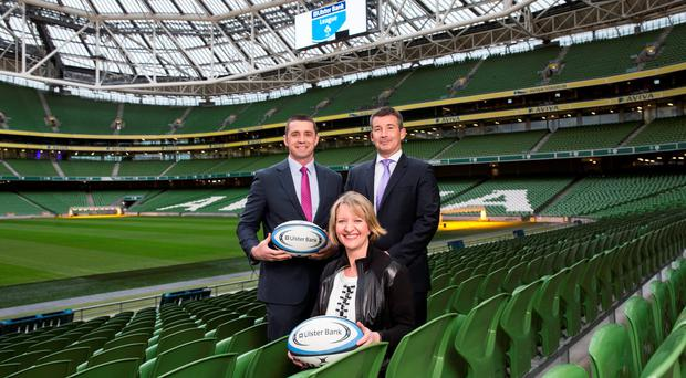 Alan Quinlan, Maeve McMahon and Padraig Power were on hand in the Aviva Stadium as Ulster Bank announced the extension of their partnership with the IRFU.