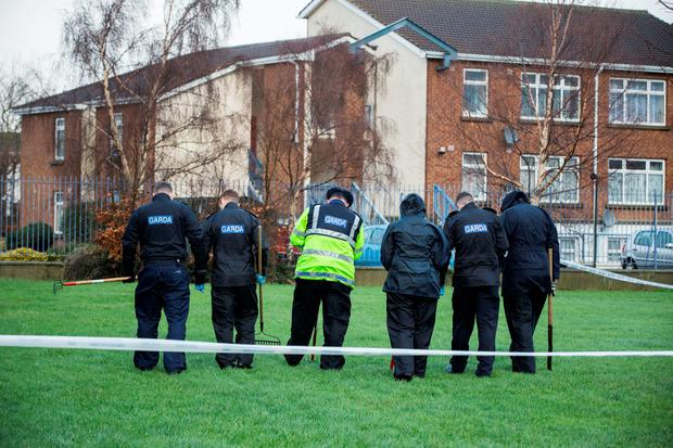 Gardai who have sealed off an area of Ashgrove estate in Tallaght. Picture: Mark Condren