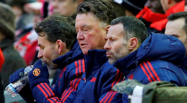 Manchester United's manager Louis van Gaal and assistant manager Ryan Giggs