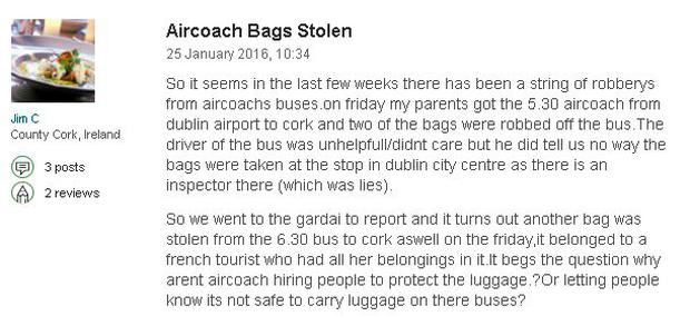 A complaint about Aircoach posted on Tripadvisor