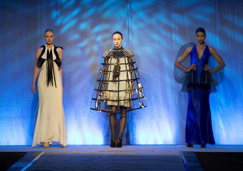 Modelling from the 2014 Irish Fashion Innovation Awards. Photo:Andrew Downes