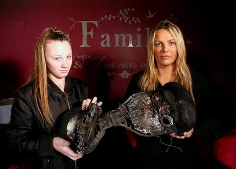 Sharon Massey, her two daughters and her nine-month-old grand-daughter were left homeless after their hoverboard burst into flames