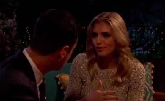 Olivia and Ben in a cringeworthy moment on The Bachelor