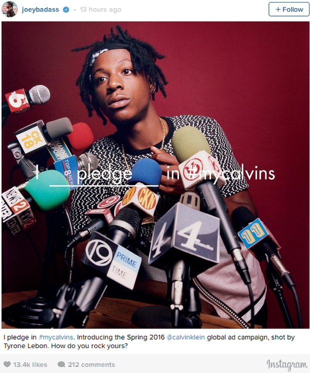 Joe Bada$$ for Calvin Klein. Photo shot by Tyrone Lebon (Photo source: Joey Bada$$ Instagram)