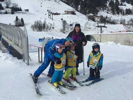 Andrea Smith makes some new friends on her skiing lesson