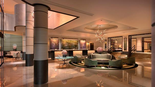 A rendering of the redesigned lobby at the Conrad Dublin.