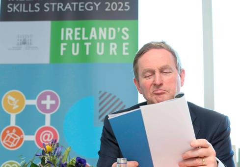 Taoiseach Enda Kenny pictured as he launches the New National Skills Strategy in Blackrock Further Education Institute. Photo: RollingNews.ie