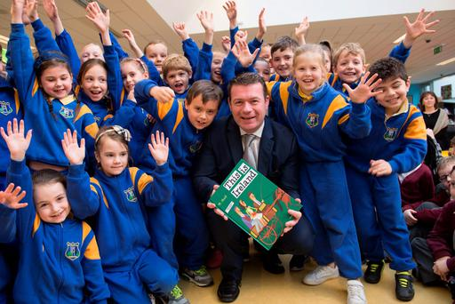 Environment Minister Alan Kelly with pupils at the launch of the Capital Programme for Public Libraries at Tallaght Library, Dublin 24, yesterday. Photo: Lafayette