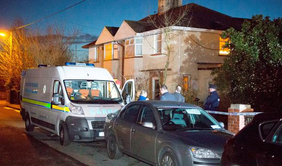 Gardaí at the scene on Frederick Avenue in Carlow. Colin O'Riordan