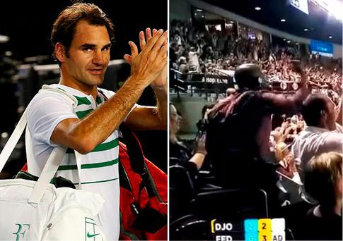 Roger Federer was beaten and (right) it appeared that a man in a wheelchair suddenly found his feet