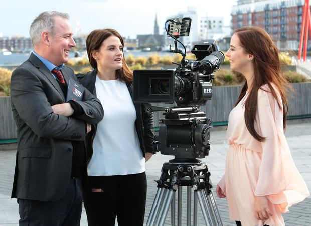 Film Director Damien O Donnell with actresses Nika McGuigan and Kelly Thornton at the Programme launch for The Audi Dublin International Film Festival. Picture: Brian McEvoy