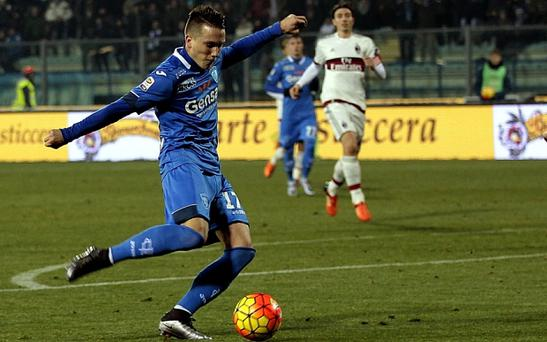 Piotr Zielinski scoring for Empoli FC against AC Milan earlier this month