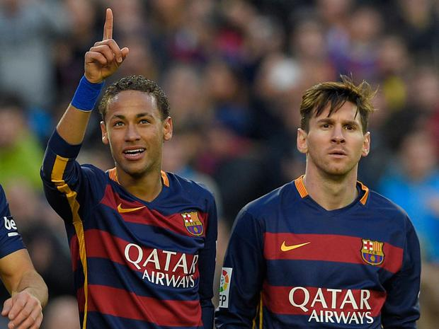 Barcelona team-mates Neymar and Lionel Messi
