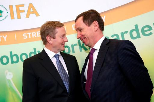 Taoiseach Enda Kenny with the IFA's Jer Bergin. Picture: Finbarr O'Rourke