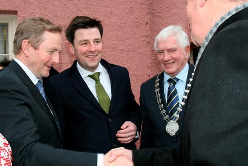 Taoiseach Enda Kenny visiting Banagher in Co. Offaly to launch a Charter for Rural Ireland. Photo: Rose Mannion