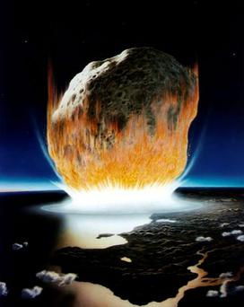 A Nasa image of an asteroid hitting Earth 65 million years ago in the Caribbean region, leading to the extinction of dinosaurs. REUTERS