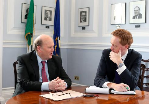 Minister for Finance Michael Noonan with Fionnán Sheahan, Editor of the Irish Independent, at the Department of Finance, Merrion Street, Dublin. Photo: Damien Eagers