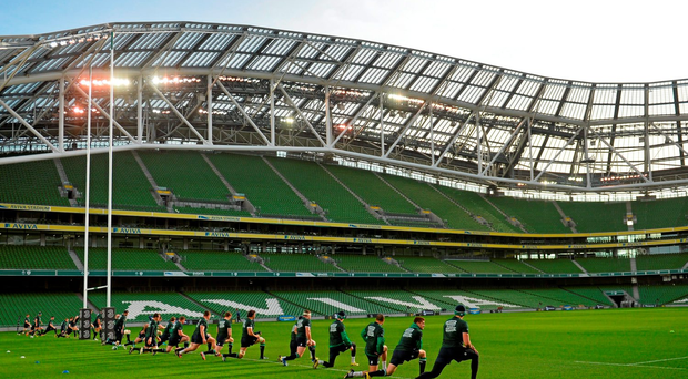 Ireland players warm-up during squad training. Ireland Rugby Squad Open Training, Aviva Stadium, Lansdowne Road, Dublin. Picture credit: Ramsey Cardy / SPORTSFILE