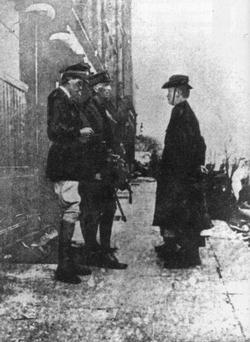 Pearse's surrender: Future film actor Major John Lowe (far left).