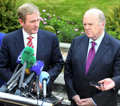 Enda Kenny and Finance Minister Michael Noonan. Photo: Damien Eagers