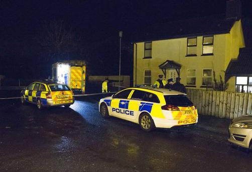 PSNI and paramedics at the murder scene at Broombeg Park in Ballycastle last night
