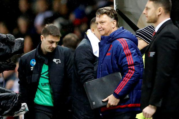 Manchester United manager Louis Van Gaal at the end of the match