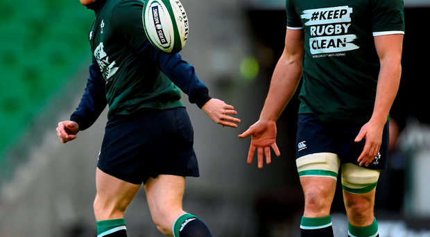 Munster team-mates Keith Earls and CJ Stander at Ireland training in the Aviva Stadium yesterday Photo: Sportsfile
