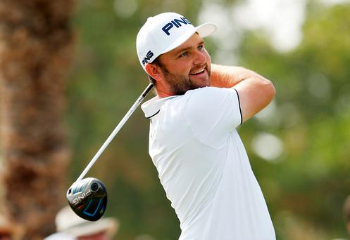 Andy Sullivan tees off in the second round of the Abu Dhabi HSBC Championship. Photo:Reuters