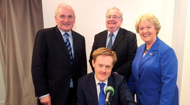 Fionnan Sheahan, Editor of the Irish Independent with former politicians Bertie Ahern, Pat Rabbitte and Nora Owen after taking part in the Irish Independent podcast