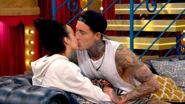 Jeremy McConnell and Stephanie Davis in the Celebrity Big Brother house on Friday