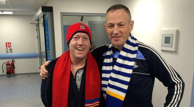 Rugby pals Robbie Merrigan( left) Derek Brennan (right). Derek donated his kidney to Robbie.