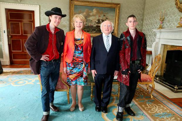 President Michael D. Higgins and Sabina Higgins host a Garden Party at the Aras and are joined by brothers Ronan and Alex Healy of The Dublin City Rounders