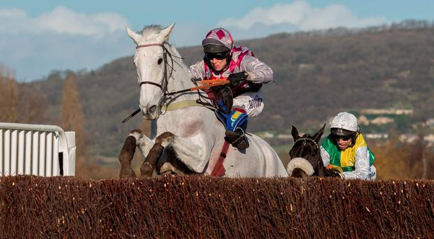 Smad Place ridden by Richard Johnson leads Many Clouds ridden by Leighton Aspell over the last fence before going on to win The BetBright Trial Steeple Chase Race run during the Festival Trials Day at Cheltenham