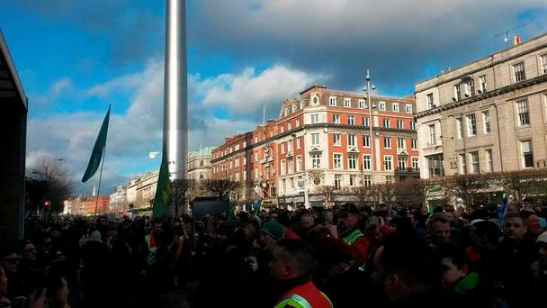 Hundreds of people came out to protest the demolitions of terrace housing on Moore Street Credit: Joan Byrne (@jemb123)