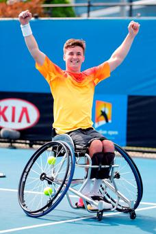 Gordon Reid of Great Britain celebrates winning his Men's Wheelchair Singles Final match against Joachim Gerard of Belgium during the Australian Open 2016 Wheelchair Championships at Melbourne Park