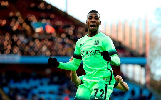 Manchester City's Kelechi Iheanacho celebrates scoring his side's second goal of the game from the penalty spot during the Emirates FA Cup, fourth round match at Villa Park