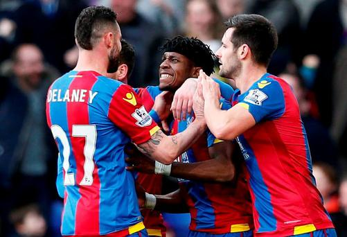 Crystal Palace's Wilfried Zaha celebrates with team mates after Tottenham's Jan Vertonghen (not pictured) scores an own goal and Crystal Palace's first Reuters / Stefan Wermuth