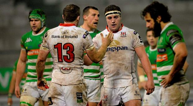 Darren Cave, Ulster, celebrates with team-mate Rob Herring after scoring his side's first try. Guinness Pro 12, Round 13, Treviso v Ulster, Monigo Stadium, Treviso, Italy. Picture credit: Max Pratelli / SPORTSFILE