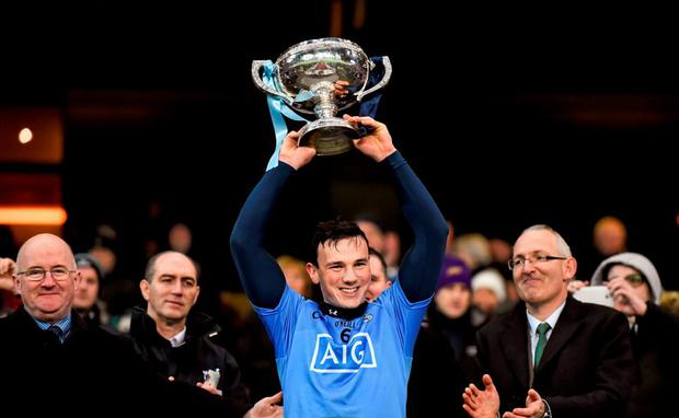 Dublin captain Liam Rushe lifts the Walsh Cup. Bord na Mona Walsh Cup Final, Dublin v Wexford. Croke Park, Dublin. Picture credit: Stephen McCarthy / SPORTSFILE