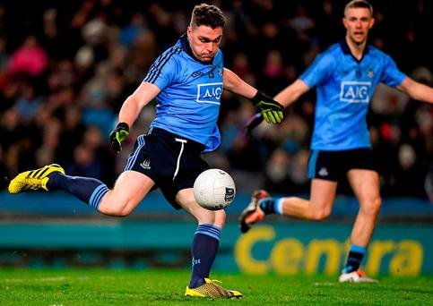 Paddy Andrews, Dublin, shoots to score a goal in the 42nd minute of the game. Allianz Football League, Division 1, Round 1, Dublin v Kerry, Croke Park, Dublin. Picture credit: Ray McManus / SPORTSFILE