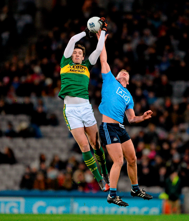 David Moran, Kerry, in action against Ciarán Kilkenny, Dublin during their Allianz Football League Division 1 clash at Croke Park last night Photo: Sportsfile
