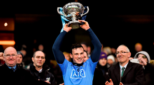 30 January 2016; Dublin captain Liam Rushe lifts the Walsh Cup. Bord na Mona Walsh Cup Final, Dublin v Wexford. Croke Park, Dublin. Picture credit: Stephen McCarthy / SPORTSFILE