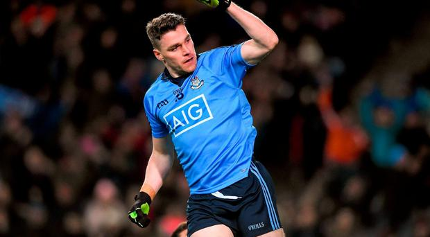 Paddy Andrews celebrates after scoring Dublin's opening goal against Kerry in their Allianz League clash in Croke Park last night. Photo: Dáire Brennan