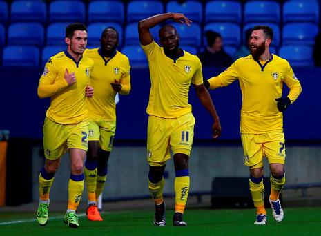 Souleymane Doukara of Leeds United celebrates his goal during The Emirates FA Cup Fourth Round match between Bolton Wanderers v Leeds United at the Macron Stadium. (Photo by Matthew Lewis/Getty Images)